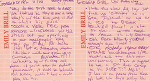 From the Desk Of Emily Brill: Trenchant, Hand-Scrawled Gossip Girl Musings