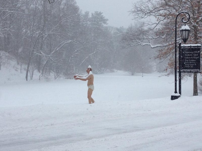 Women's college gets statue of man in underwear, everyone offended