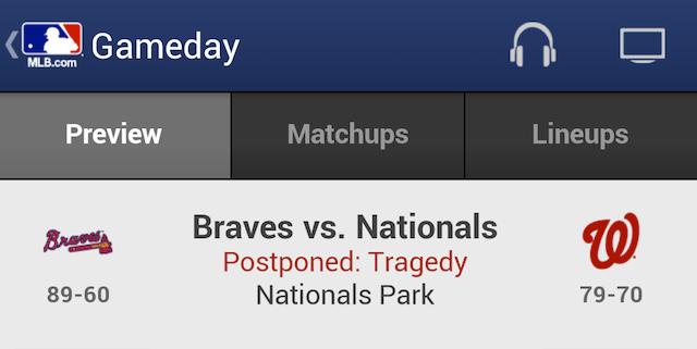 "MLB Gameday: Braves-Nationals ""Postponed: Tragedy"""
