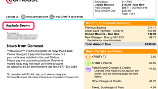 "Comcast Changed Customer's Name to ""Asshole Brown"" But Is Totally Sorry"