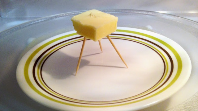Microwave Butter Perfectly With a Toothpick Tripod