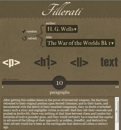 Fillerati Generates Dummy Text from Classic Literary Works