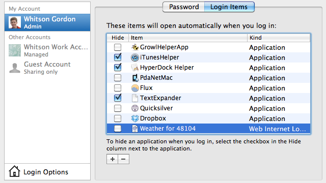 Use OS X's Login Items to Launch Web Sites at Startup