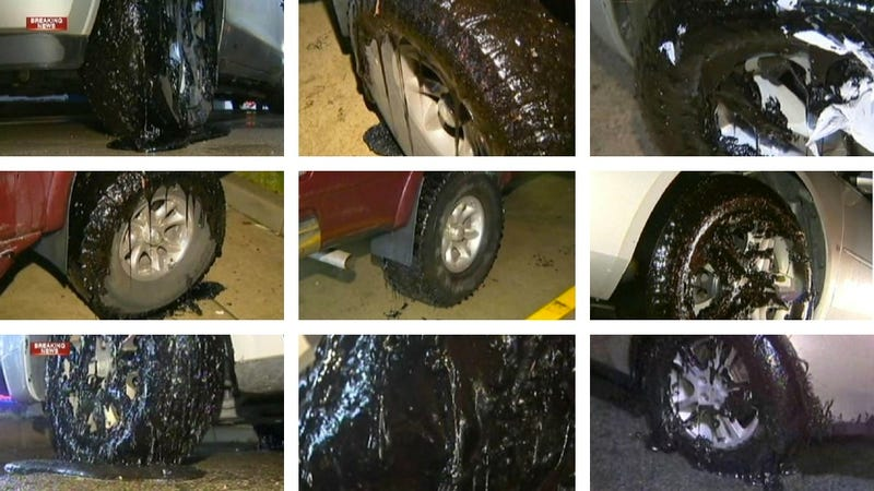 What was the tar-like substance coating the Pennsylvania Turnpike yesterday?