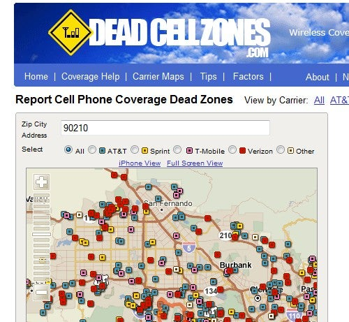 DeadCellZones Shows Real-World Carrier Coverage in Your Area