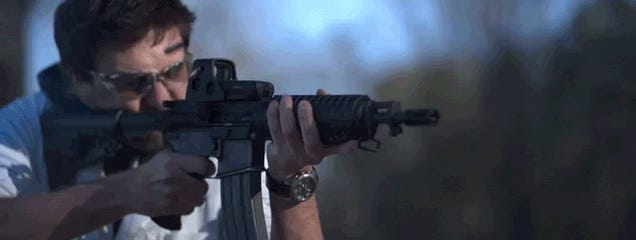 Ballet of bullets: Firing a fully automatic rifle in super slow motion