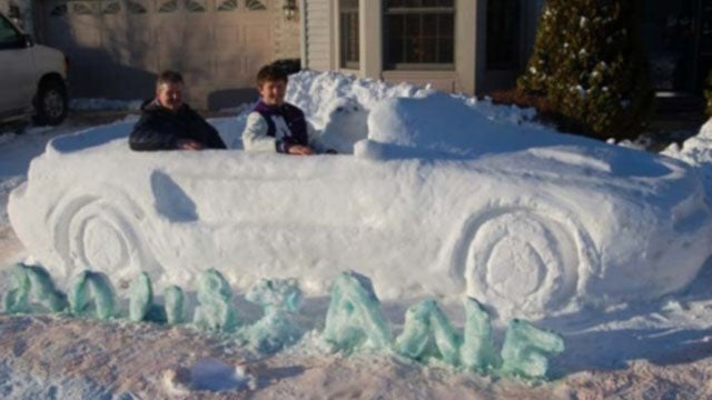 Teenager builds life-size Mustang out of snow
