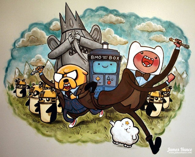 Hero father paints Doctor Who Adventure Time mural for daughter's wall