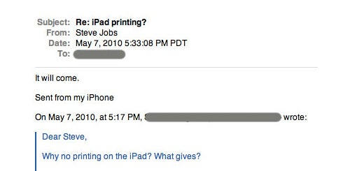 Steve Jobs: iPad Printing Will Come