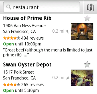 Maps for Android Adds Places for Instant Nearby Search