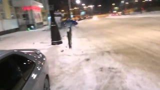 Audi into Bus Stop