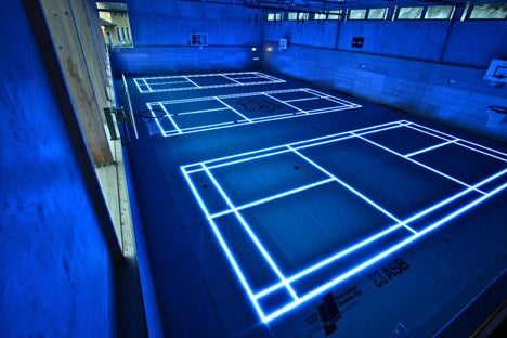 A basketball court straight out of Tron