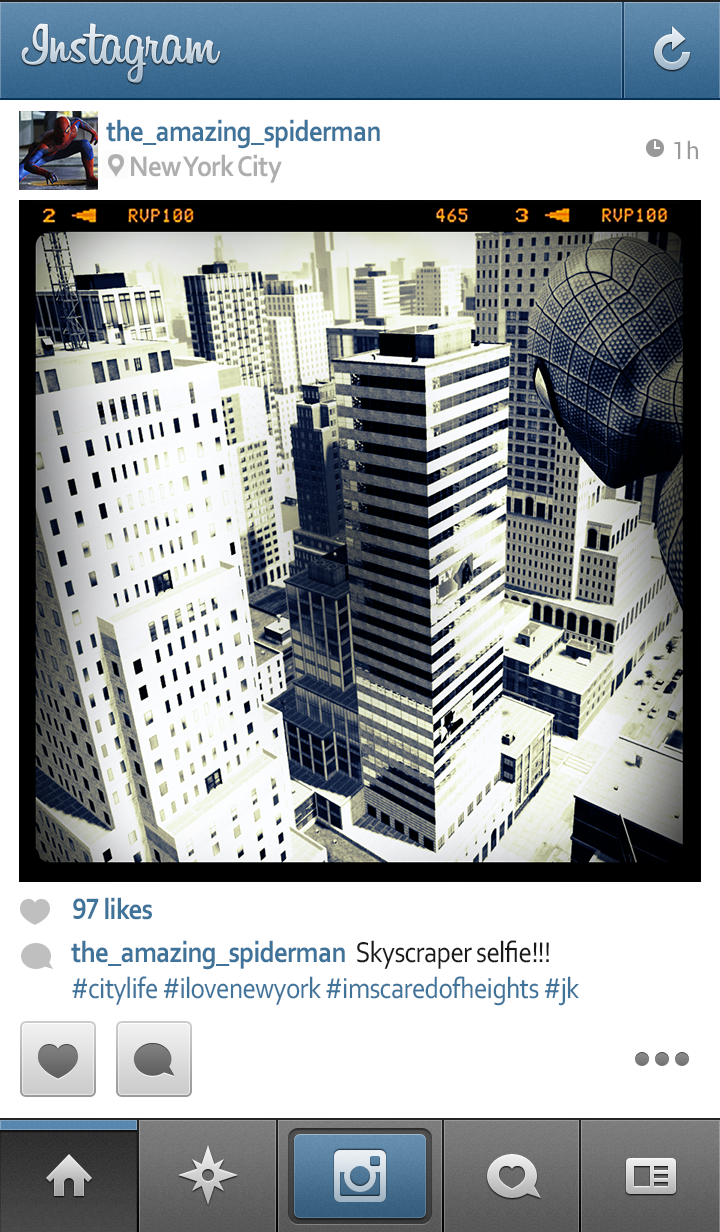Spider-Man Has the Best Superhero Instagram Picture. Of Course.