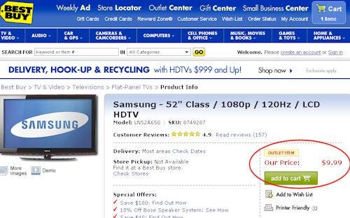 Best Buy Fixes $10 Samsung 52-inch HDTV Price