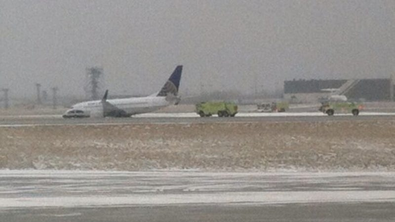 United Airlines Plane Slides Off Icy Runway At Cleveland Airport