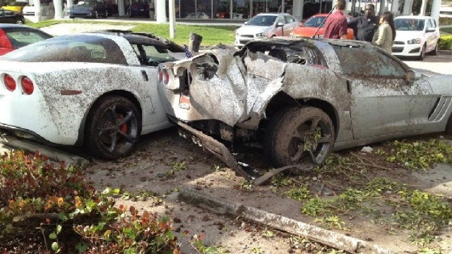 How did a row of new Corvettes get destroyed at this Miami dealership?