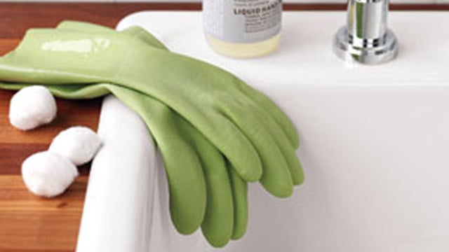 Protect Rubber Gloves from Sharp Fingernails with Cotton Balls