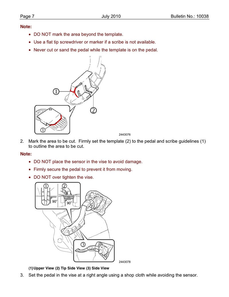 Toyota Pedal And Floormat TSB: Repair Instructions