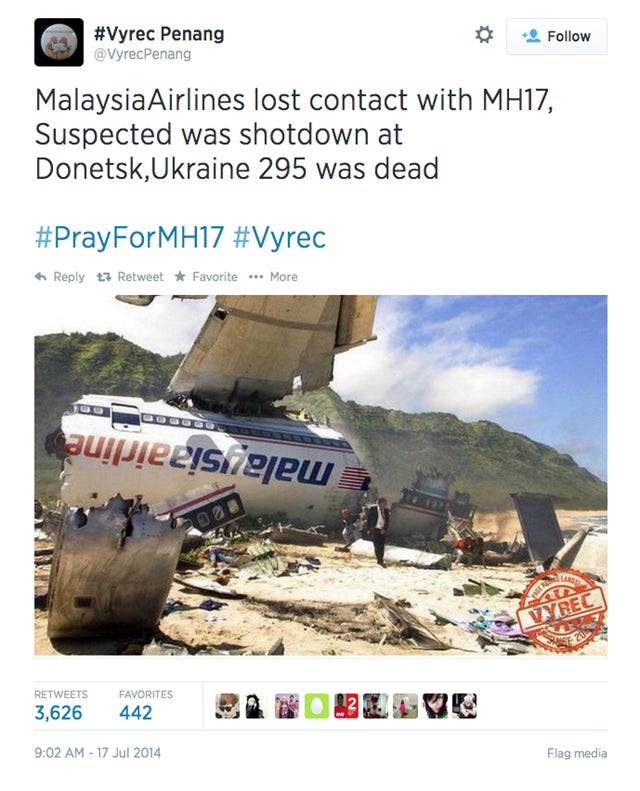 This isn't the Malaysia Airlines crash. It's Photoshopped from Lost.