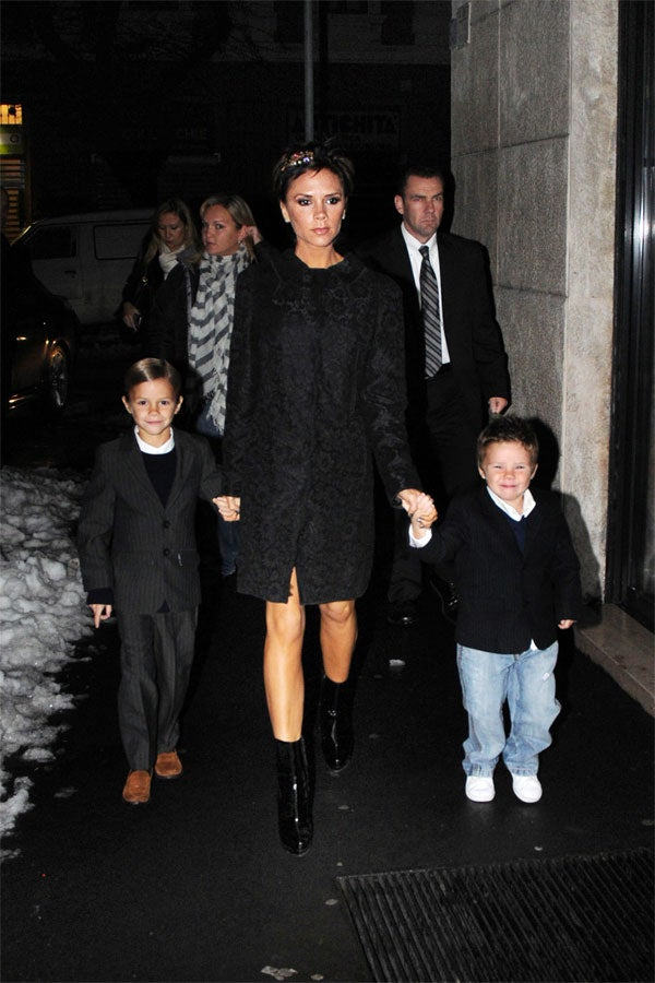 Victoria Beckham & Boys: All Dressed Up And Grinning To Go