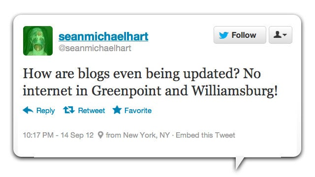 Twitter Reacts to the Great Williamsburg Internet Outage of 2012