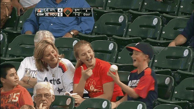 Young Astros Fan Gets Foul Ball, Licks It, Gets Slapped