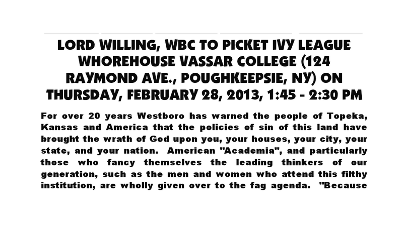 Westboro Church Will Picket 'Ivy League Whorehouse' Vassar College