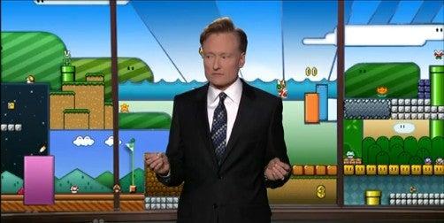 Conan O'Brien Reacts to His Super Mario Bros-Themed Backdrop