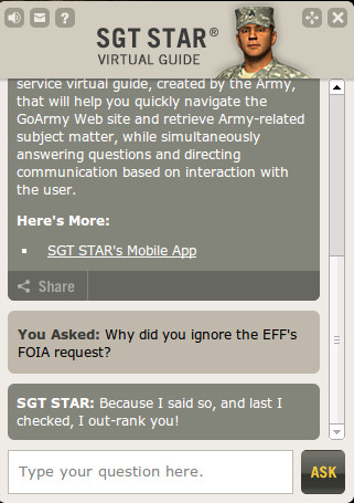 Free Sgt. Star: Army Ignores FOIA Request for Artificial Intelligence Records