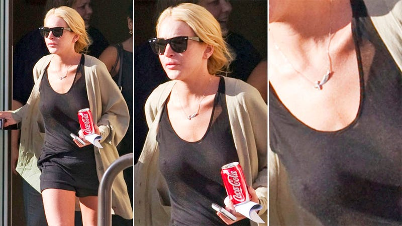 Lindsay Lohan Goes Braless to Serve the Homeless