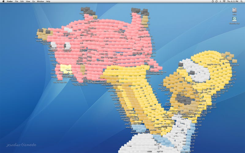 Spider-Pig and Homer Simpson Made of Folders Are Good Excuse for Desktop Clutter Art Contest
