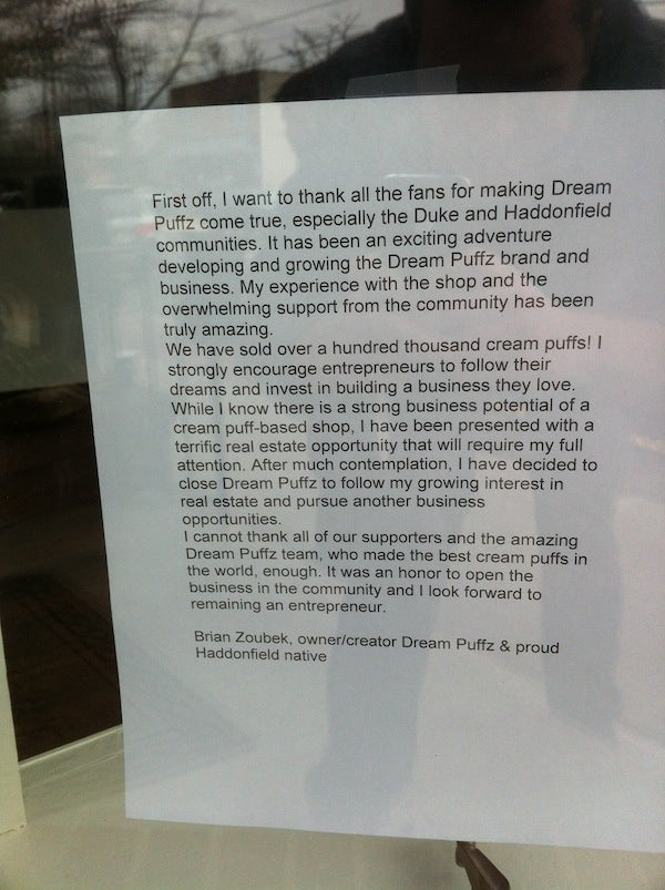 Former Duke Center Brian Zoubek Closes His Cream Puff Shop, Leaves A Sad Note On The Door