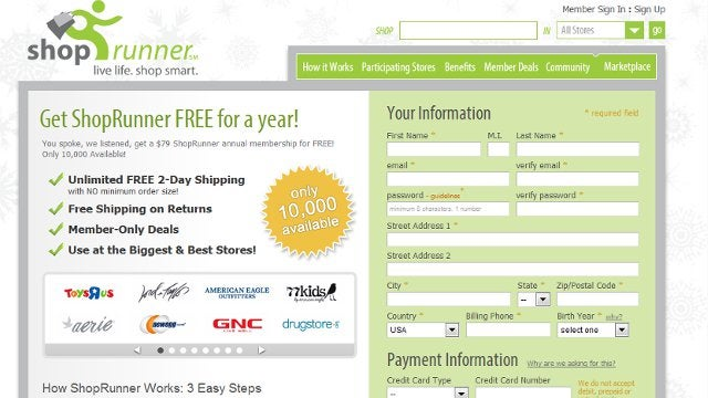 Get Free 2-Day Shipping for a Year with ShopRunner (a $79 Value, Free Today Only)
