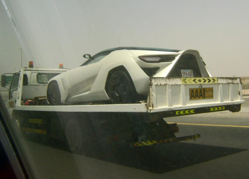 White Stile Bertone Mantide Getting Towed In Dubai