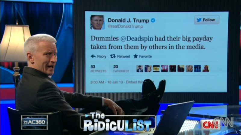 Watch Anderson Cooper Dramatically Reading Donald Trump's Idiotic Tweets