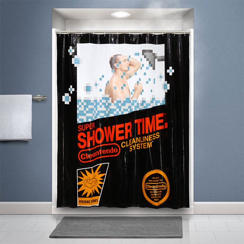 Nintendo Bathroom Curtain—Now You're Playing With Shower