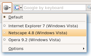 Mask your browser identification with User Agent Switcher