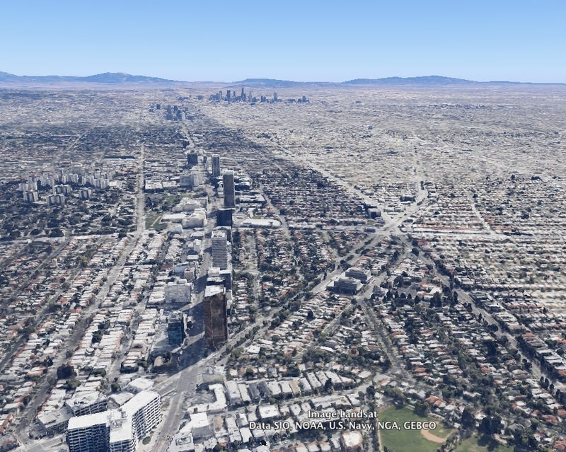 L.A.'s Wilshire Boulevard From the Air, Then & Now