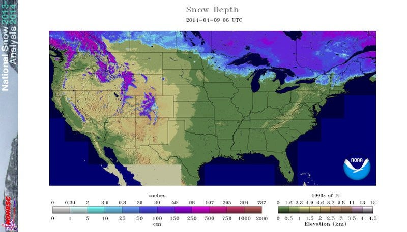 Less Than 10% of the U.S. Has Snow Cover for First Time Since November