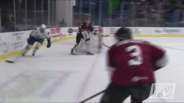 AHL Player Does A Barrel Roll
