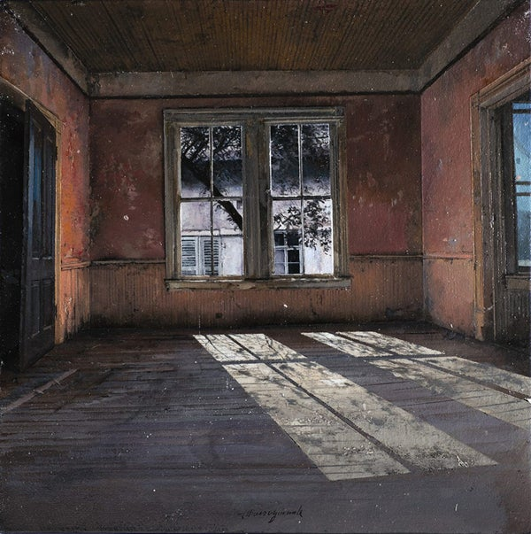 Post-apocalyptic paintings of abandoned buildings