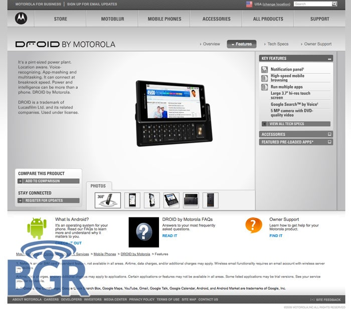 Motorola Droid Unexpectedly Appears on Motorola's Site Ahead of Schedule