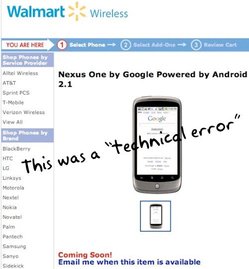 "Walmart Not Getting Nexus One, Leaked Product Page Described As ""Technical Error"""