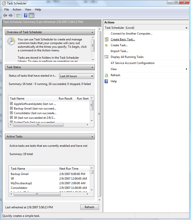 Screenshot Tour: Windows Vista's Task Scheduler