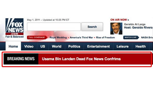 Fox News's Osama bin Laden Headline is Very, Extremely Wrong