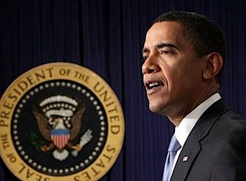Obama Repeats Oath Without Bible