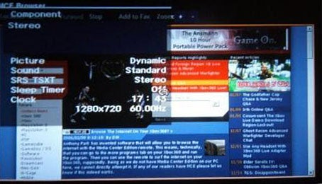 The Web on the XBox 360