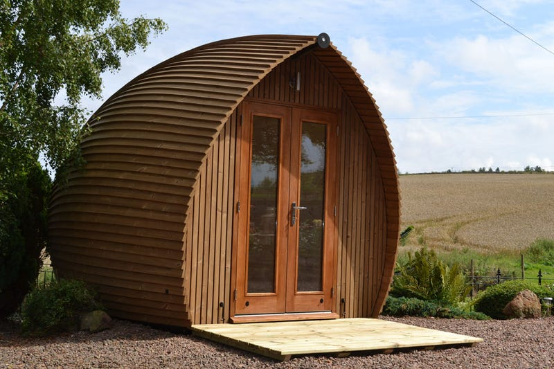 Tiny enclosed pod offices for the post apocalyptic web worker for Garden office pod
