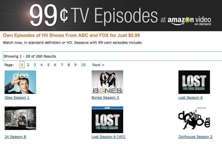 Amazon's Streaming TV Episodes From Fox and ABC For 99 Cents