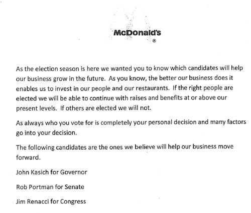 McDonald's Tells Employees to Vote Republican
